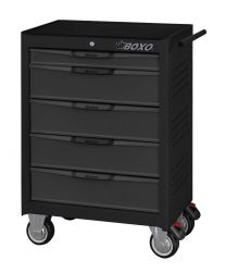 BOXO 5 drawer trolley with MIS system, black-grey