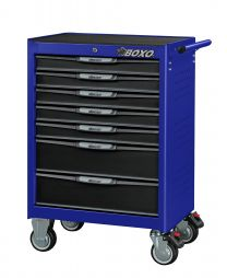 BOXO 7 Drawer trolley with MIS system, blue - 681x459x1000 mm