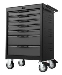 BOXO 7 drawer trolley with mis system and digit lock, black-grey