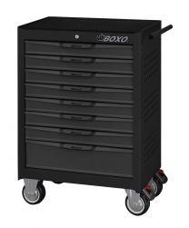 BOXO 8 Drawer trolley with MIS system, black-grey - 681x459x1000 mm