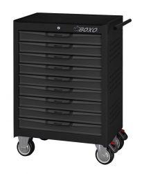 BOXO 9 Drawer trolley with MIS system, black-grey - 681x459x1000 mm
