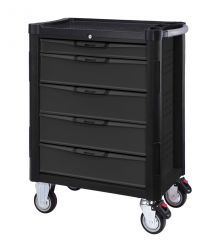 """BOXO 5 Drawer trolley with MIS system, black-grey - 724x459x1000 mm + 1/4"""" & 1/2"""" Tool set, 203pc"""