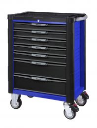 BOXO 7 Drawer trolley with MIS system, blue, 724x459x1000, 203pc