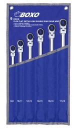BOXO XL Flex-head ratcheting spanner set in pouch 6pc