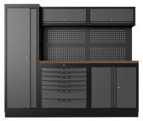 OSM werkbank met hoge kast, 2 onderkasten, 2 bovenkasten en multiplex werkblad