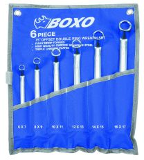 Double ring wrench set, offset 75° in pouch 6pc